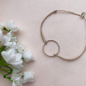 Bracelet fil lurex anneau